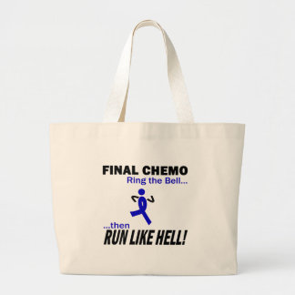 Final Chemo Run Like Hell - Colon Cancer Large Tote Bag