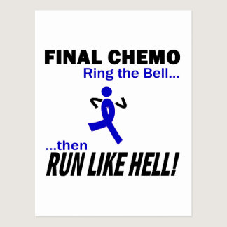 Final Chemo Run Like Hell - Colon Cancer Postcard