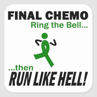 Final Chemo Run Like Hell - Liver Cancer Square Sticker