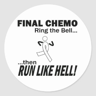 Final Chemo Run Like Hell - Lung Cancer Classic Round Sticker