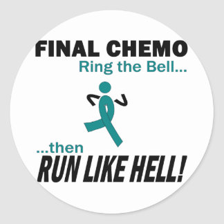 Final Chemo Run Like Hell - Ovarian Cancer Classic Round Sticker
