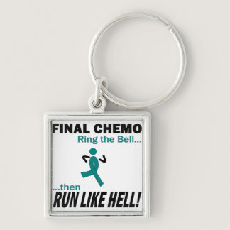 Final Chemo Run Like Hell - Ovarian Cancer Keychain