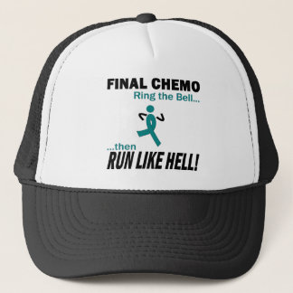 Final Chemo Run Like Hell - Ovarian Cancer Trucker Hat