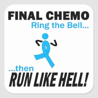 Final Chemo Run Like Hell - Prostate Cancer Square Sticker