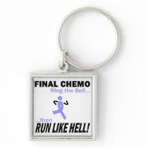 Final Chemo Run Like Hell - Stomach Cancer Keychain