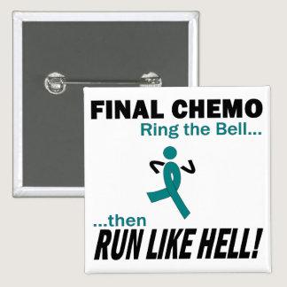 Final Chemo Run Like Hell - Uterine Cancer Pinback Button