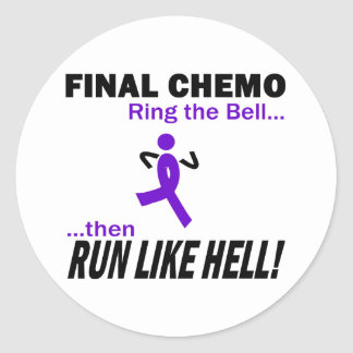 Final Chemo Run Like Hell - Violet Ribbon Classic Round Sticker