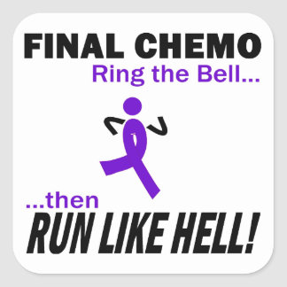 Final Chemo Run Like Hell - Violet Ribbon Square Sticker