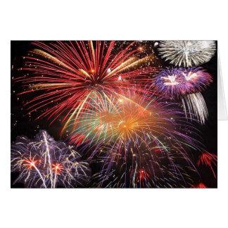 Final de los fuegos artificiales tarjeta de felicitación