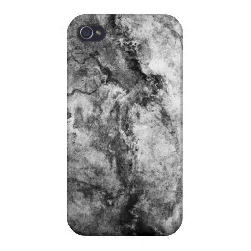 Final de piedra de mármol blanco negro rayado humo iPhone 4 fundas