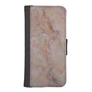 Final de piedra de mármol estriado rosado cartera para iPhone 5