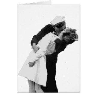 Final del beso de la guerra tarjeta de felicitación