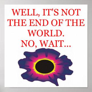 final del chiste de la condenación del mundo póster