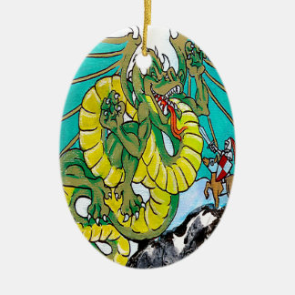 final fight (vertical) Double-Sided oval ceramic christmas ornament