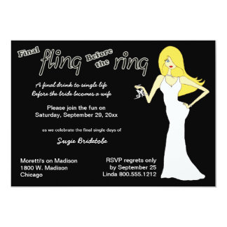 Final Fling Before The Ring Blonde Haired Bride 5x7 Paper Invitation Card