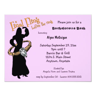"""Final Fling Before The Ring Pink Party Invitations 4.25"""" X 5.5"""" Invitation Card"""