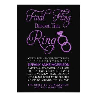 Final Fling Faux Glitter Bachelorette Party Card