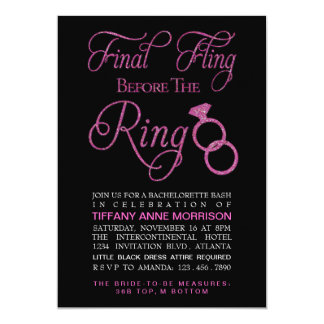 Final Fling Faux Glitter Bachelorette Party 5x7 Paper Invitation Card