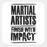 Final marcial de los artistas con impacto pegatina cuadrada