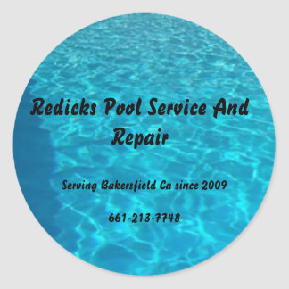 final_pool, Redicks Pool Service And Repair, Se... Classic Round Sticker