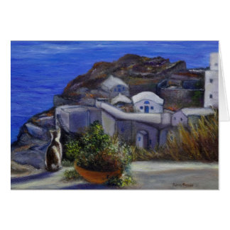 Final Santorini Cat View Holiday Card