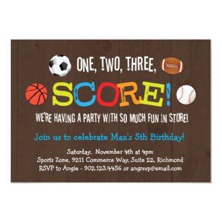 Final Score Sports Birthday Party Invitation
