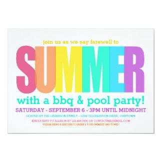 Finales del fiesta del verano invitación 12,7 x 17,8 cm