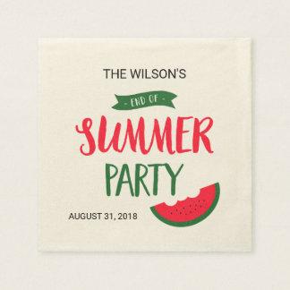 Finales verde rojo de la sandía del fiesta del servilleta de papel