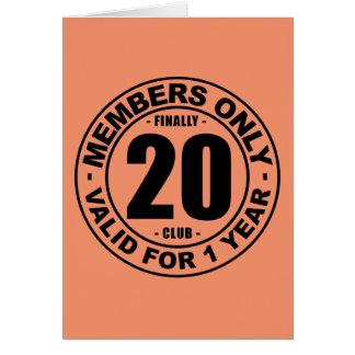 Finally 20 club card