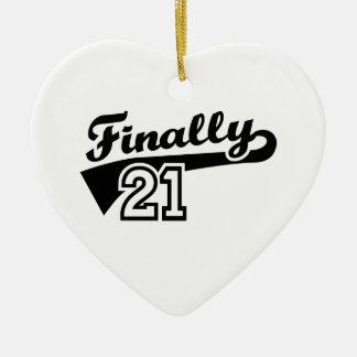 Finally 21 years birthday ceramic ornament