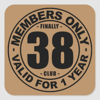 Finally 38 club square sticker