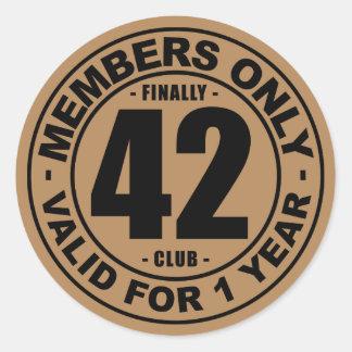 Finally 42 club classic round sticker