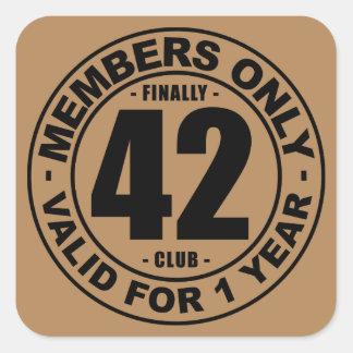 Finally 42 club square sticker