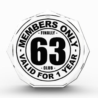 Finally 63 club acrylic award