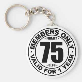 Finally 75 club basic round button keychain