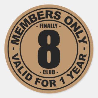 Finally 8 club classic round sticker