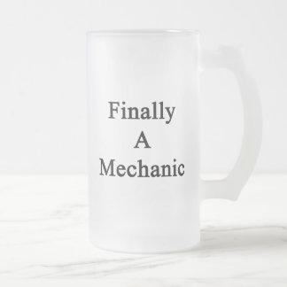 Finally A Mechanic 16 Oz Frosted Glass Beer Mug