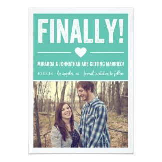 """Finally - Blue Photo Save The Date Announcements 5"""" X 7"""" Invitation Card"""
