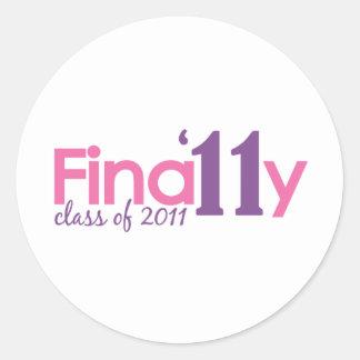 Finally Class of 2011 (Pink) Classic Round Sticker