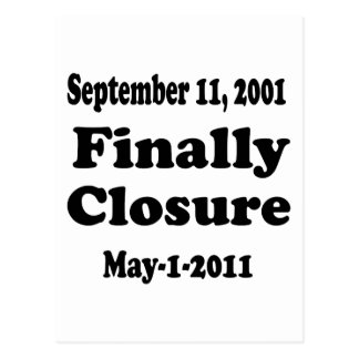 Finally Closure Sept 11 Postcard