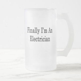 Finally I'm An Electrician 16 Oz Frosted Glass Beer Mug