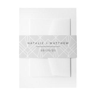 Finally modern geometric wedding invitation belly band