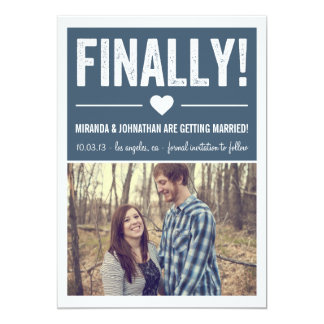 Finally - Navy Photo Save The Date Announcements