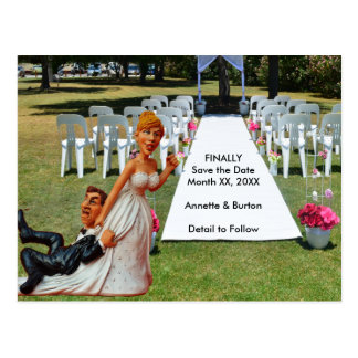 Finally Save the Date Funny Couple Postcard