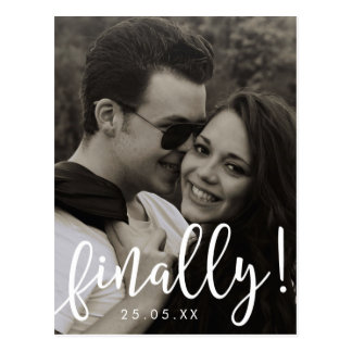 Finally Script Font Overlay Save the Date Postcard