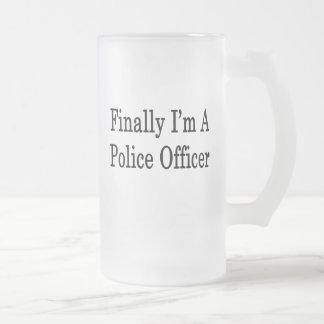 Finalmente soy oficial de policía taza cristal mate