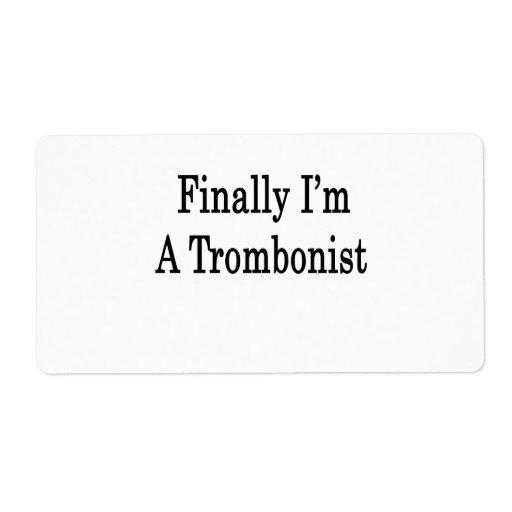 Finalmente soy trombón etiqueta de envío