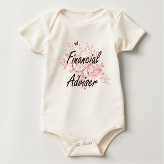 Financial Adviser Artistic Job Design with Butterf Baby Bodysuit
