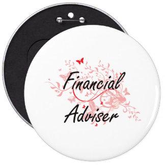 Financial Adviser Artistic Job Design with Butterf Button