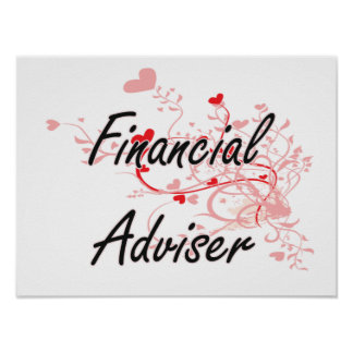 Financial Adviser Artistic Job Design with Hearts Poster